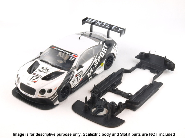 S06-ST3 Chassis for Scalextric Bentley GT3 SSD/LMP in White Strong & Flexible