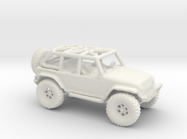 Jeep Rubicon JK 1/100 Scale in White Strong & Flexible