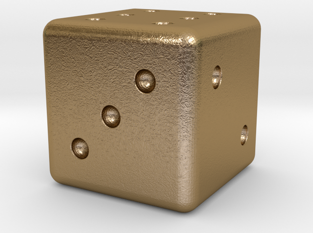 Loaded Weighted Die in Polished Gold Steel