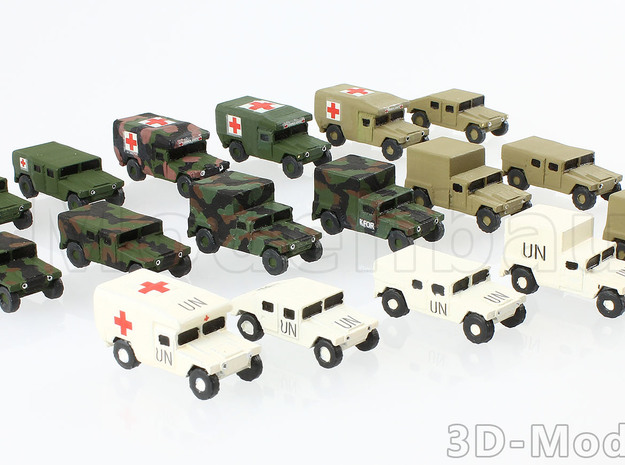 1/160 US Army M998 Canvas Humvee HMMWV Hummer H1 in White Natural Versatile Plastic