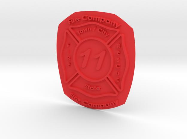 Custom Fire Dept. Emblem  in Red Processed Versatile Plastic
