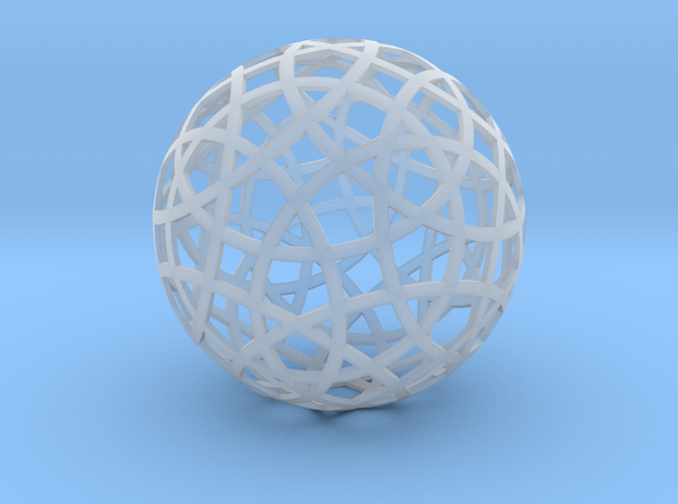 Stripsphere20 3d printed strip sphere 20 - 20 strips parallel to regular icosahedron faces, shown in white strong and flexible plastic