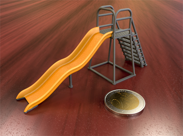 Children's Wave Slide, Dollhouse Miniature (1:48) in Polished Metallic Plastic