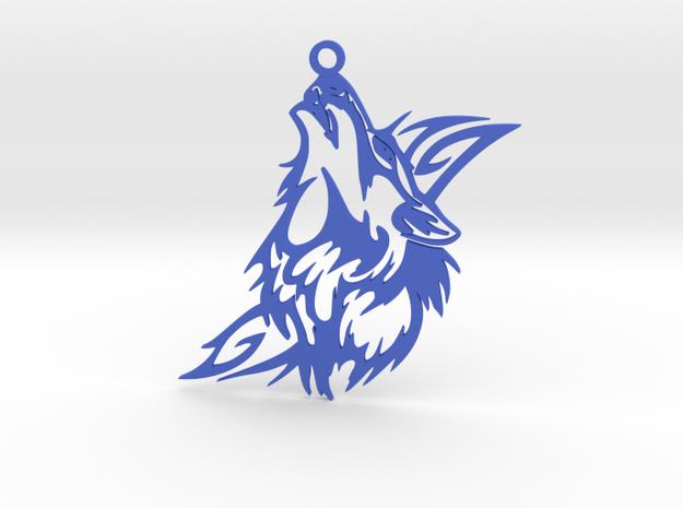 Wolf Pendant in Blue Processed Versatile Plastic