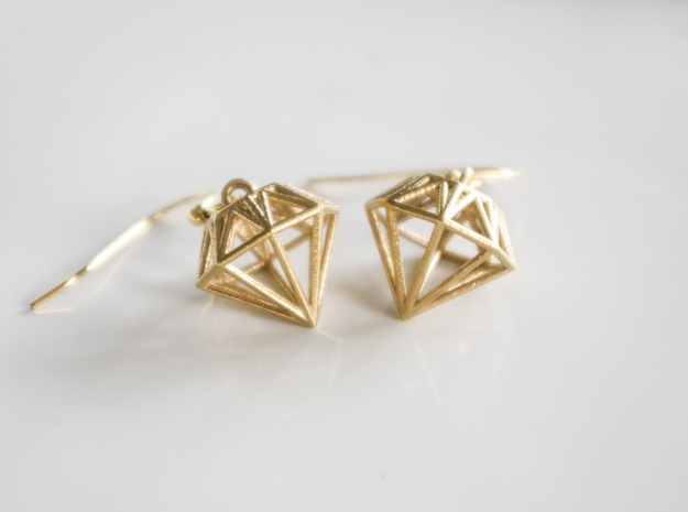 Diamond Earrings in Natural Brass