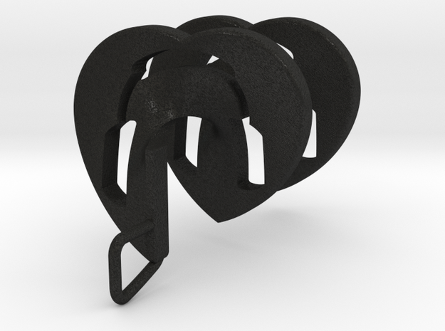 Headphones Heart Spiral Pendant in Black Acrylic