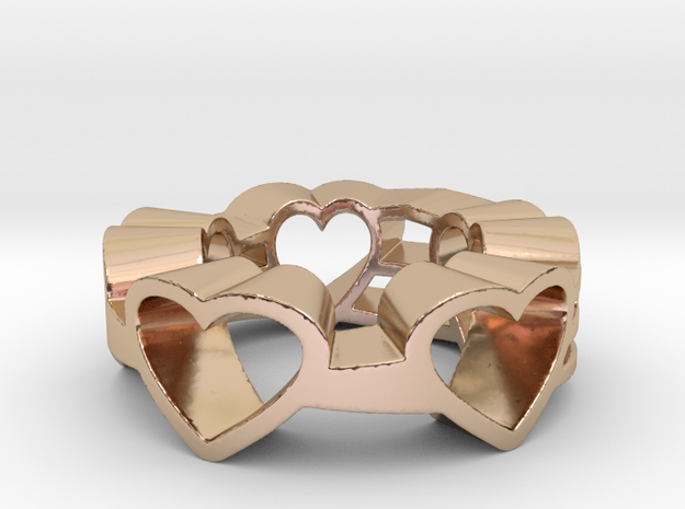 Love Lines Ring Size 7.25 in 14k Rose Gold Plated Brass