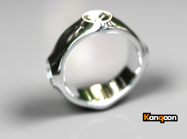 Dizzy Lizzy - Ring - US 9 - 19 mm inside diameter 3d printed Premium Silver PREVIEW