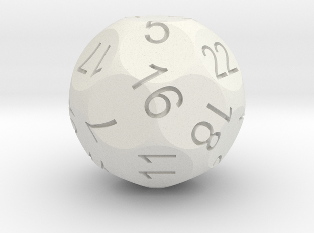 Alt D22 Sphere Dice 3d printed CG Rendering with inked numbers