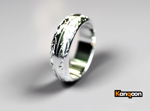 Ray F. - Ring - US 9 - 19 mm inside diameter 3d printed Polished Silver PREVIEW