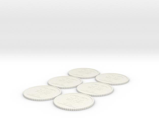 Inq Tokens (1-6) Roman Numerals in White Natural Versatile Plastic