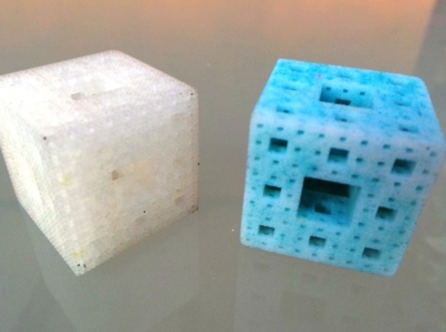 Menger cube 3d printed Ultra Frosted Detail and Sandstone (dyed)