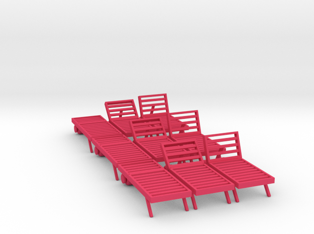 Poolside Chairs (9x), 1:48 dollhouse / O scale   in Pink Strong & Flexible Polished