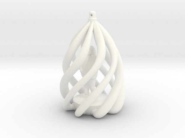 Swirl Ornament in White Processed Versatile Plastic