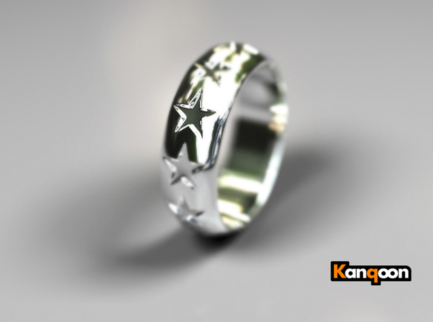 Eugen - Ring - US 9 - 19 mm inside diameter 3d printed Polished Silver PREVIEW