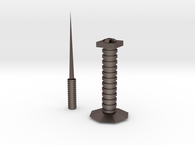 Letter Opener And Base 1 in Polished Bronzed Silver Steel