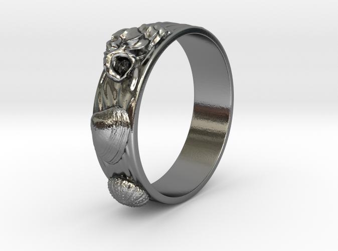 silver ring beach jewelry 11 mm maritime jewelry Sea urchin