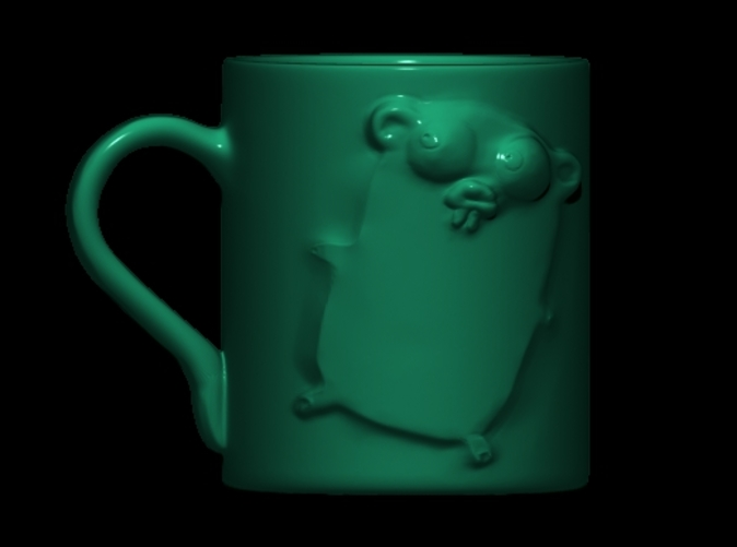 Front view in a green glossy material (Porcelain)