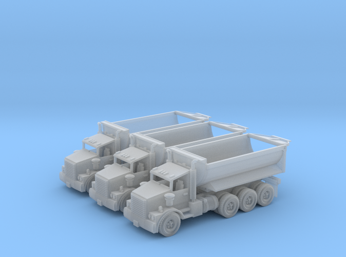 3 tri-axle Dump Trucks Z scale