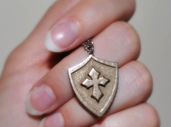Cross shield pendant printed in steel.