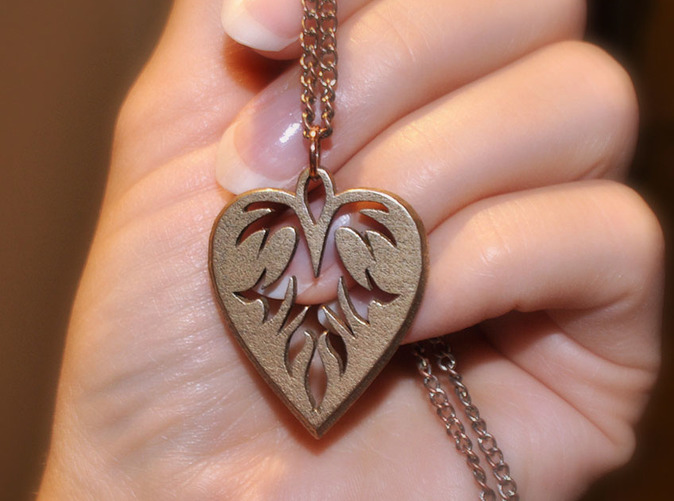 Fiery heart pendant