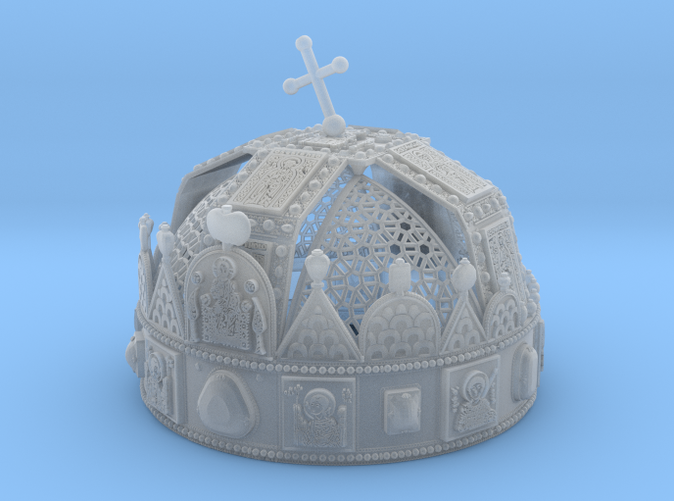 """Photo about 3dprint """"Hungarian Holy Crown with net"""" Material: Frosted Ultra Detail. You can see the very smallest details on the crown."""