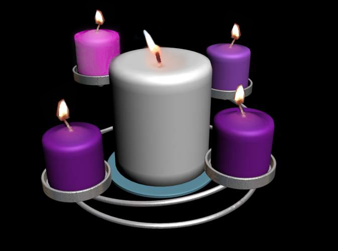 Computer render of item with advent candles.