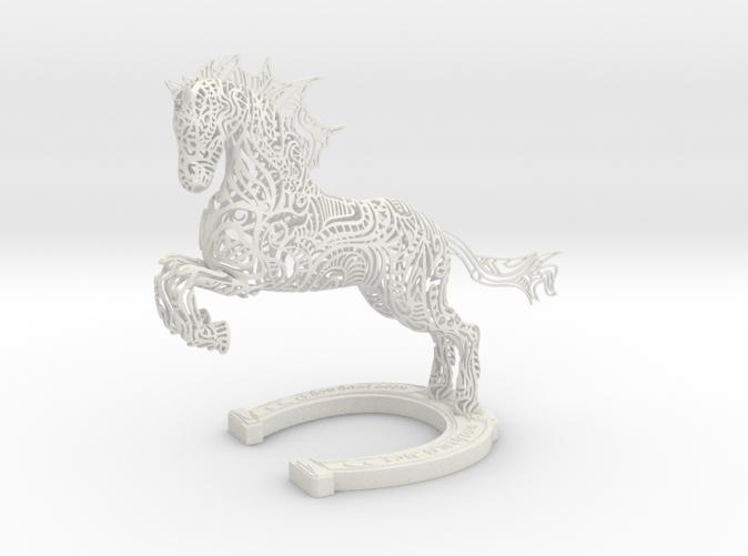 Rocinante Horse Sculpture in White Natural Versatile Plastic