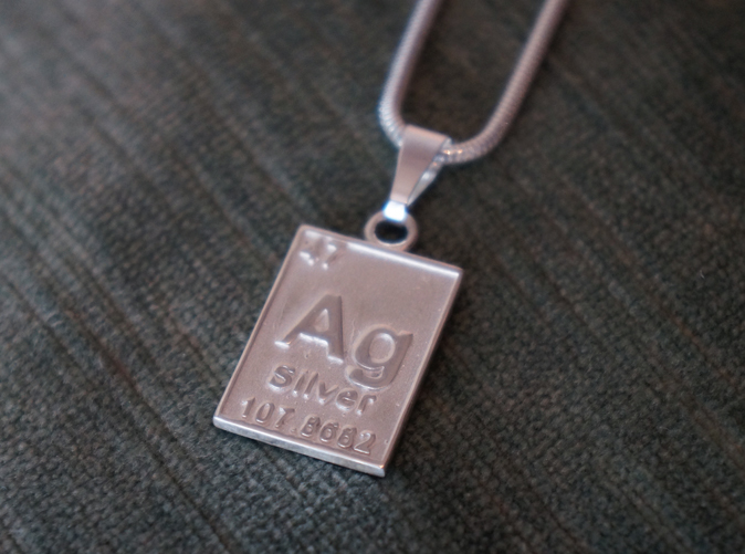 The Silver Periodic Table Pendant in polished silver.