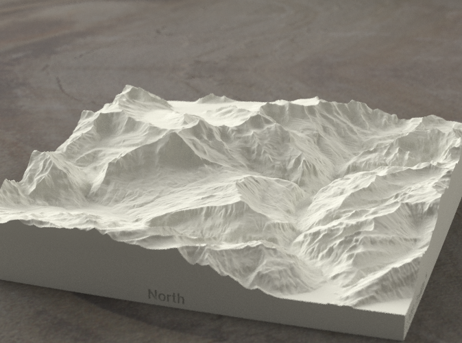 Radiance rendering of model, looking south toward the Eiger Nordwand.