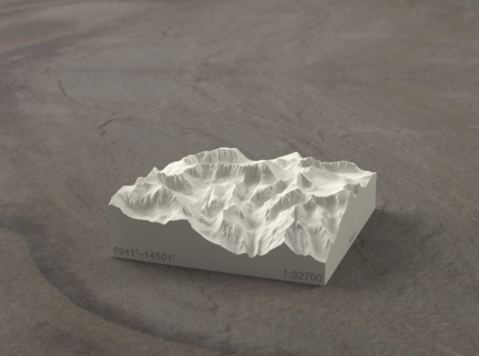 Radiance rendering of model, viewed from the East, looking past Whitney Portal