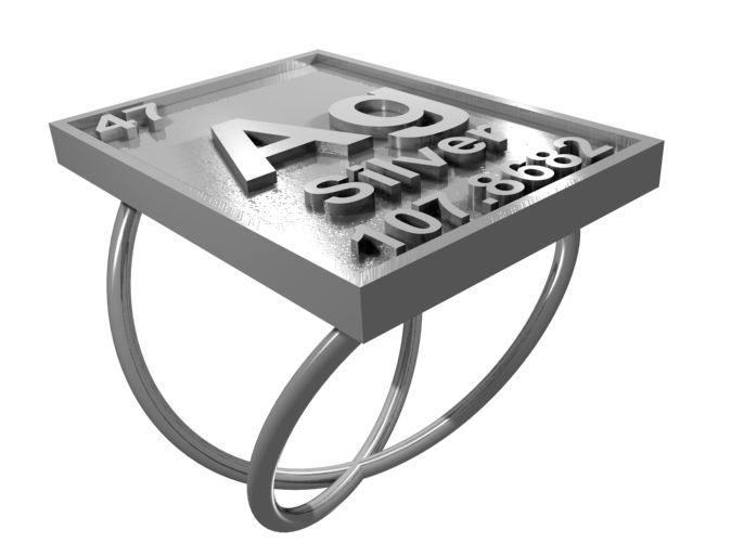 CGI Render of The Silver Periodic Table Ring From The Top