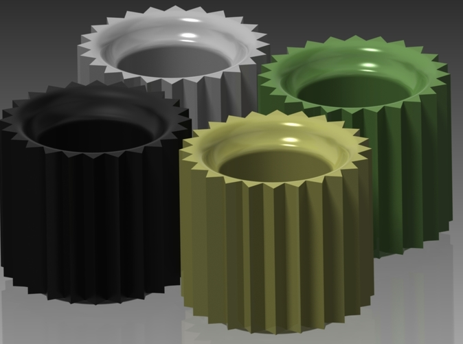Rendering in Black Satin, White Glossy, Pastel Yellow Glossy, and Avocado Green Glossy Ceramics.