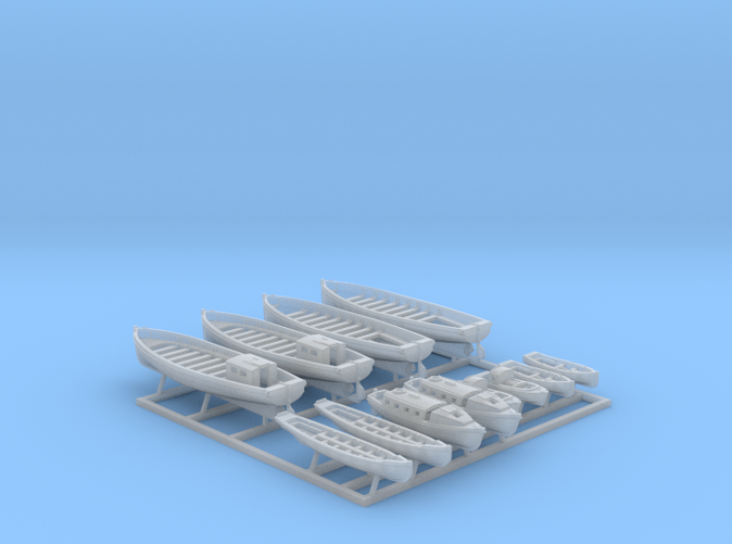 1/600 WW2 Royal Navy Boat Set 2 without Mounts