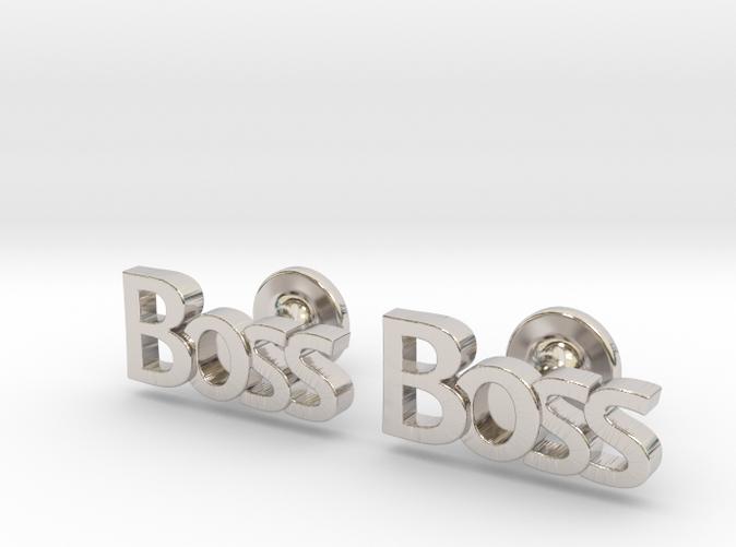 Boss cufflinks rhodium plated