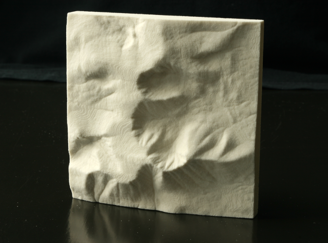 Photo of actual 3D print in Sandstone; North is up.