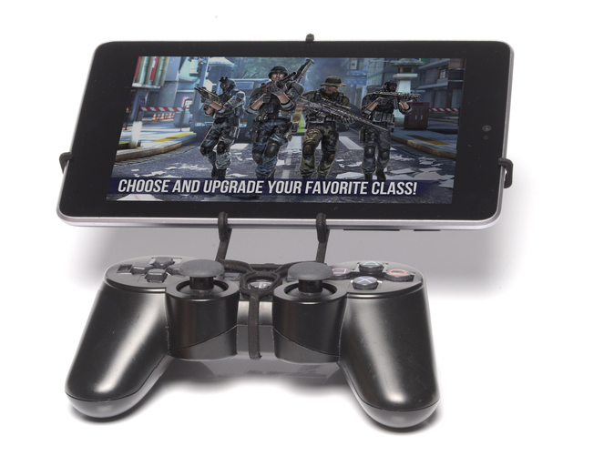 Front View - A Nexus 7 and a black PS3 controller