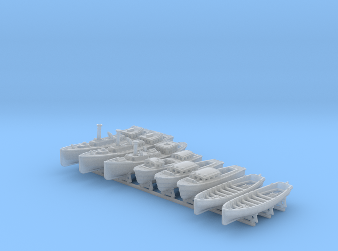 1/350 WW2 RN Boat Set 4 with Mounts