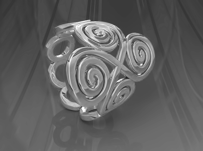 Spirals & Ovals Ring (Closed Version ) - Size18 SILVER