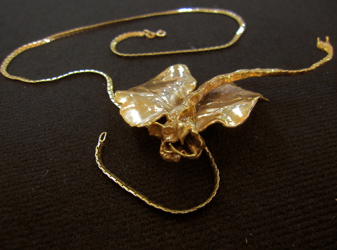 "Foreshortened view of large,3.25"", Kat Dragon pendant printed in gold plate over solid brass. The chain is not included with the order."