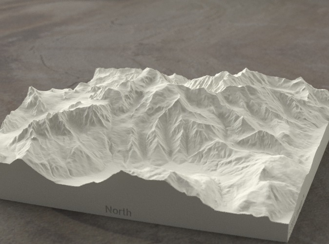 Radiance rendering of model from the north