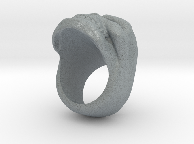 Skull Ring in Polished Metallic Plastic