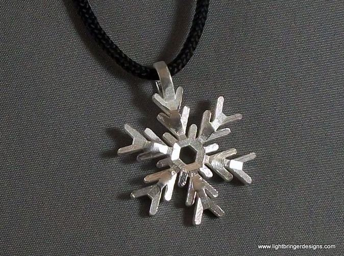 Snowflake Pendant in Raw Silver