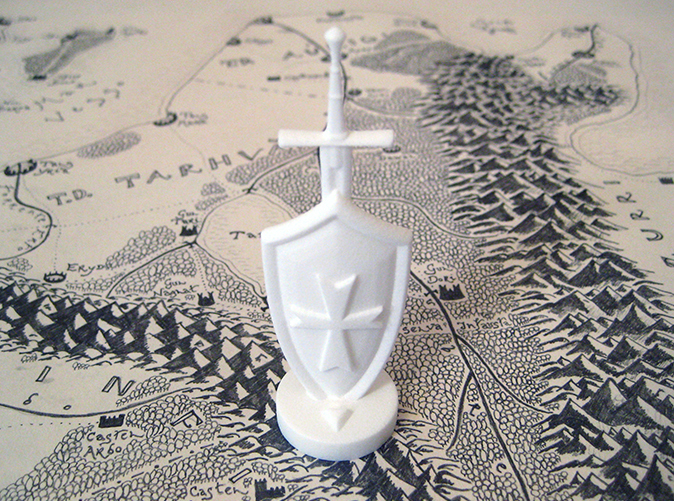 Sword & Shield in Strong & Flexible Plastic (Polished White)