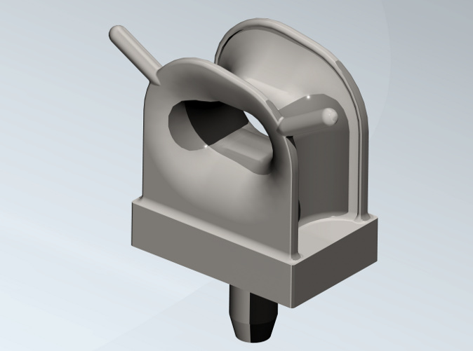 Single deck fairlead in coloured, rendered view.