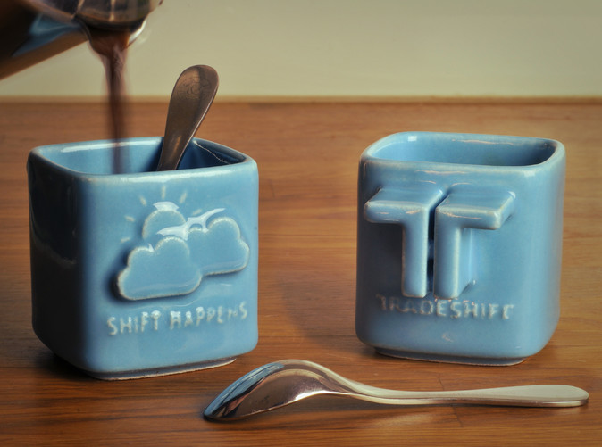 Tradeshift Espresso Cups 3D printed in Gloss Blue Porcelain