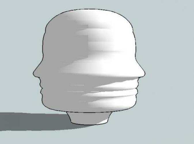 Vista con sombras del perfil personalizado del tirador.    View of the drawer handle's profile with shadows