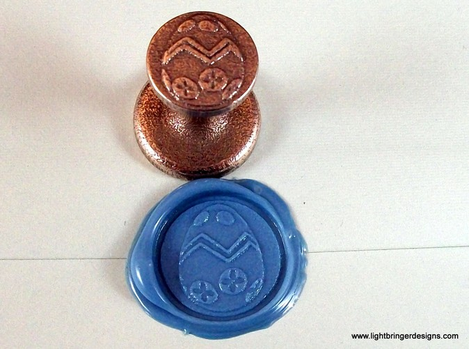 The seal and wax impression in Light Blue premium sealing wax.