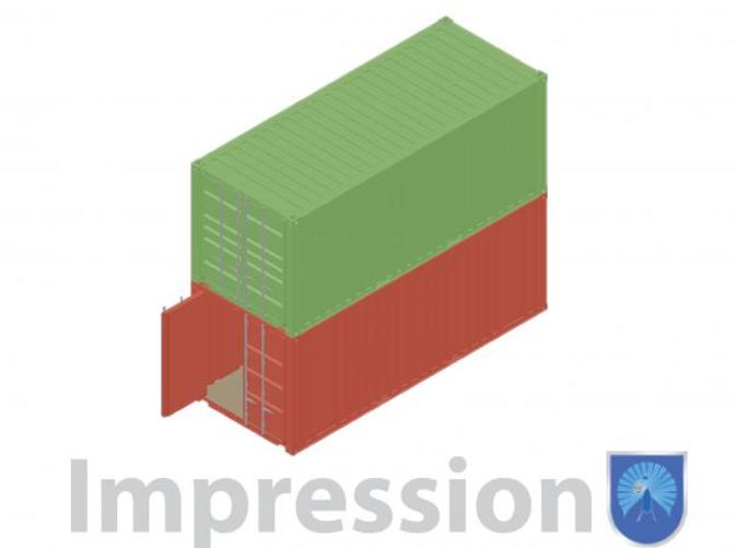 Impression of a few shipping containers. Type A (in red) and type B (in blue)