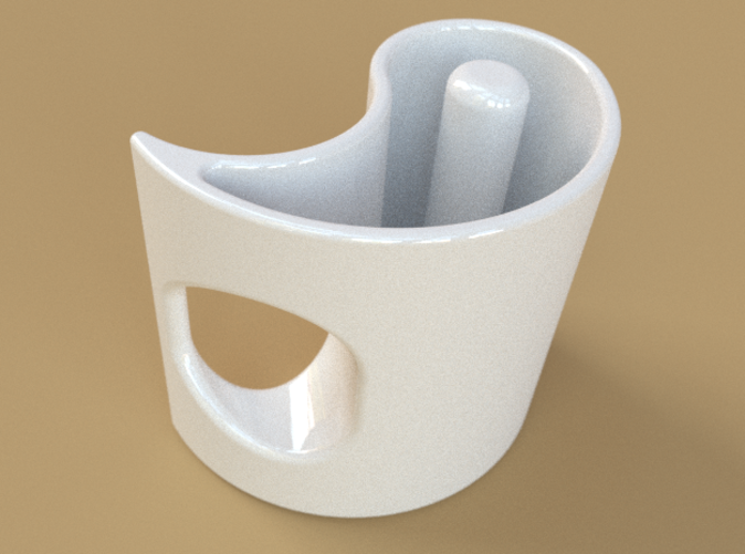 A single cup, in white ceramic.